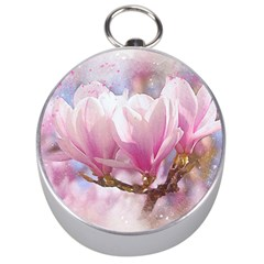 Flowers Magnolia Art Abstract Silver Compasses by Nexatart