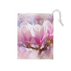 Flowers Magnolia Art Abstract Drawstring Pouches (medium)  by Nexatart