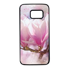 Flowers Magnolia Art Abstract Samsung Galaxy S7 Black Seamless Case by Nexatart