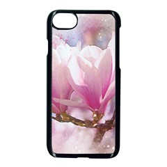 Flowers Magnolia Art Abstract Apple Iphone 7 Seamless Case (black) by Nexatart