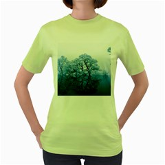 Nature Inspiration Trees Blue Women s Green T Shirt