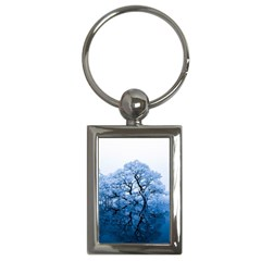 Nature Inspiration Trees Blue Key Chains (rectangle)