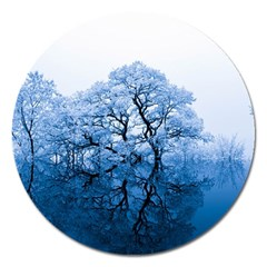 Nature Inspiration Trees Blue Magnet 5  (round)