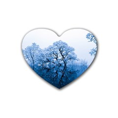 Nature Inspiration Trees Blue Rubber Coaster (heart)