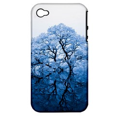 Nature Inspiration Trees Blue Apple Iphone 4/4s Hardshell Case (pc+silicone)