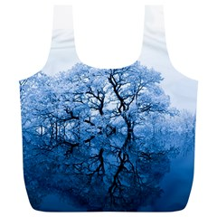 Nature Inspiration Trees Blue Full Print Recycle Bags (l)  by Nexatart