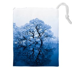 Nature Inspiration Trees Blue Drawstring Pouches (xxl) by Nexatart