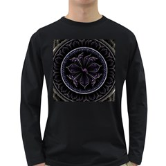 Fractal Abstract Purple Majesty Long Sleeve Dark T Shirts