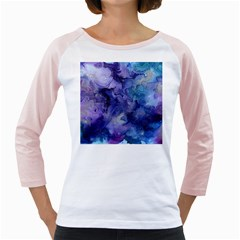 Ink Background Swirl Blue Purple Girly Raglans by Nexatart