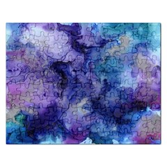 Ink Background Swirl Blue Purple Rectangular Jigsaw Puzzl