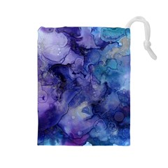 Ink Background Swirl Blue Purple Drawstring Pouches (large)