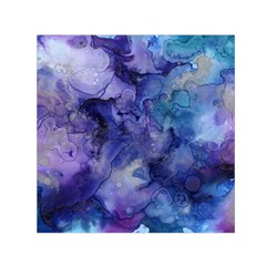 Ink Background Swirl Blue Purple Small Satin Scarf (square) by Nexatart