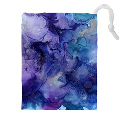 Ink Background Swirl Blue Purple Drawstring Pouches (xxl) by Nexatart