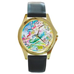 Art Abstract Abstract Art Round Gold Metal Watch by Nexatart