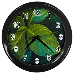 Green Plant Leaf Foliage Nature Wall Clocks (black) by Nexatart