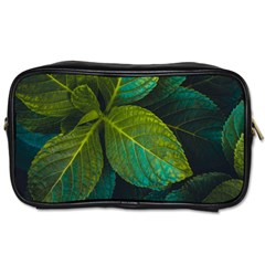 Green Plant Leaf Foliage Nature Toiletries Bags by Nexatart