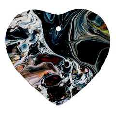 Abstract Flow River Black Ornament (heart)