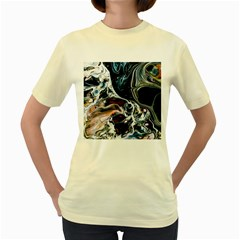 Abstract Flow River Black Women s Yellow T Shirt
