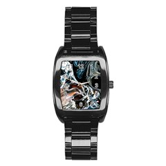 Abstract Flow River Black Stainless Steel Barrel Watch