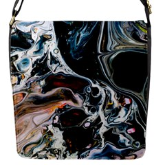 Abstract Flow River Black Flap Messenger Bag (s)