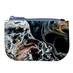 Abstract Flow River Black Large Coin Purse