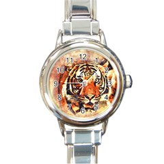 Tiger Portrait Art Abstract Round Italian Charm Watch by Nexatart