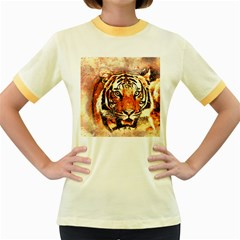 Tiger Portrait Art Abstract Women s Fitted Ringer T Shirts