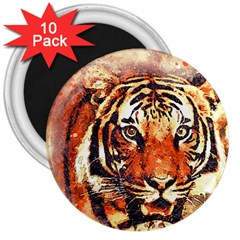 Tiger Portrait Art Abstract 3  Magnets (10 Pack)