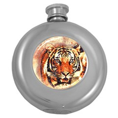 Tiger Portrait Art Abstract Round Hip Flask (5 Oz)
