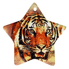 Tiger Portrait Art Abstract Star Ornament (two Sides)