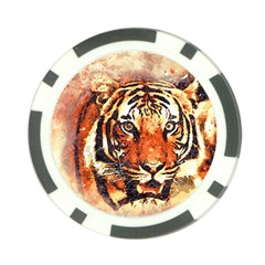 Tiger Portrait Art Abstract Poker Chip Card Guard