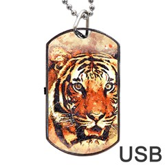 Tiger Portrait Art Abstract Dog Tag Usb Flash (two Sides) by Nexatart