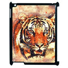 Tiger Portrait Art Abstract Apple Ipad 2 Case (black) by Nexatart