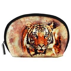 Tiger Portrait Art Abstract Accessory Pouches (large)