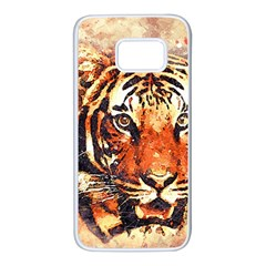 Tiger Portrait Art Abstract Samsung Galaxy S7 White Seamless Case