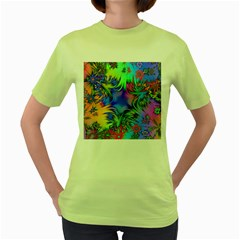 Star Abstract Colorful Fireworks Women s Green T Shirt