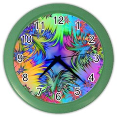 Star Abstract Colorful Fireworks Color Wall Clocks by Nexatart