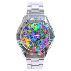 Star Abstract Colorful Fireworks Stainless Steel Analogue Watch