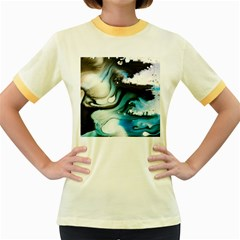 Abstract Painting Background Modern Women s Fitted Ringer T Shirts
