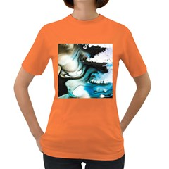 Abstract Painting Background Modern Women s Dark T Shirt