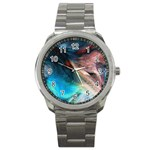 Background Art Abstract Watercolor Sport Metal Watch Front