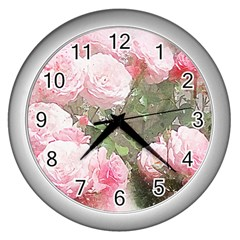 Flowers Roses Art Abstract Nature Wall Clocks (silver)