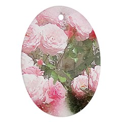 Flowers Roses Art Abstract Nature Oval Ornament (two Sides) by Nexatart
