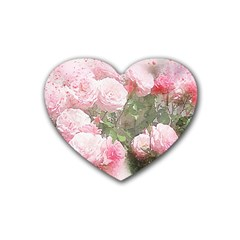 Flowers Roses Art Abstract Nature Rubber Coaster (heart)