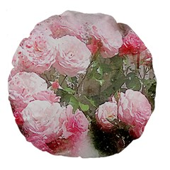Flowers Roses Art Abstract Nature Large 18  Premium Flano Round Cushions