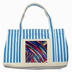 Texture Pattern Fabric Natural Striped Blue Tote Bag by Nexatart