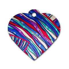 Texture Pattern Fabric Natural Dog Tag Heart (two Sides)