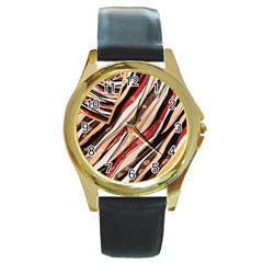 Fabric Texture Color Pattern Round Gold Metal Watch