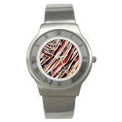 Fabric Texture Color Pattern Stainless Steel Watch by Nexatart