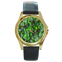 The Leaves Plants Hwalyeob Nature Round Gold Metal Watch by Nexatart